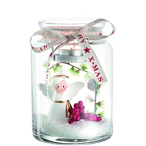 LEONARDO 045186 Glas rot transparent weiß Kerzenhalter - Teelichthalter (Tisch, Glas, Rot, Transparent, Weiß, andere, Innen, Weihnachten)