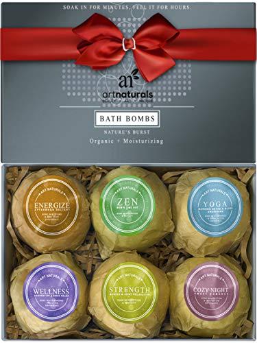 ArtNaturals Badebomben Geschenkset mit Ätherischen Ölen - (6 x 4 Oz / 113 g) - Handgemachte Bade-Sprudel-Tabletten - Natürliche Shea-Butter zur Feuchtigkeitsspende für Trockenen Haut - Aromatherapie Entspannung - Pflege und Spass für jedes Alter