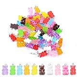 100 Stück Kunstharz-Gummibären-Anhänger, bunte Bären, Süßigkeiten-Charms, Cartoon-Bär,...