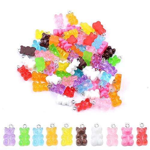 100 pz resina gommoso orso ciondolo colorato orso caramella charms cartoon orso portachiavi collana fascino carino braccialetto accessori per bambino fai da te mestiere