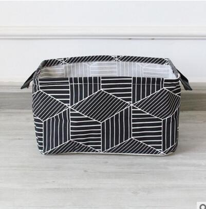 ZXXFR Wasmand, katoen, geometrische grafisch doek, huisdecoratie, vuile wasgoed, opslag, emmer box voor kinderen 38 x 26 x 22 cm.