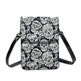 Girls Crossbody Bag Cell Phone Purse Wallet Day Of The Dead Sugar Skull with Floral Pu Leather...