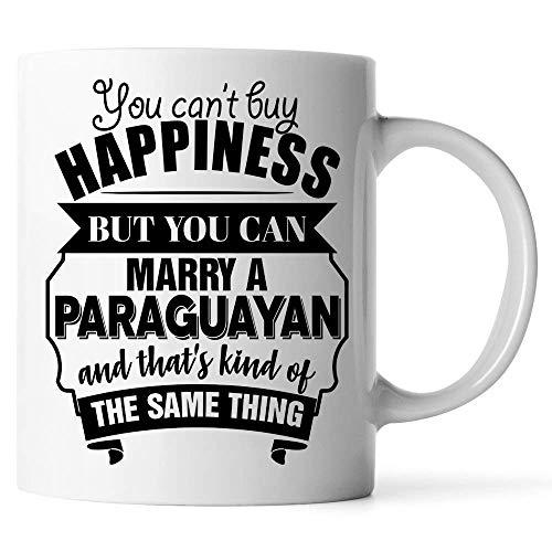 N\A Personaliza Tazas Divertido de San Valentín para Esposo, Esposa es una Taza de café con Leche paraguaya. No Puedes Comprar la Felicidad, Pero Puedes casarte con un paraguayo y eso es