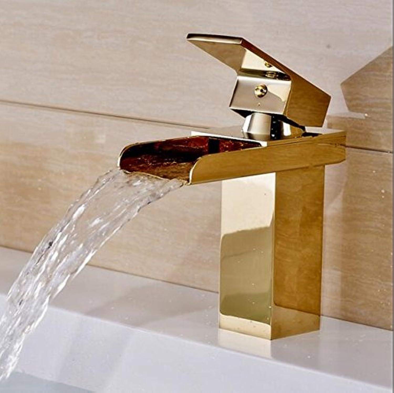 Tourmeler Bathroom Basin Sink Faucet Waterfall Mixer golden Retro Faucet Single Handle H-2351, Brass, golden
