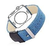 bandmax Armband kompatibel für Apple Watch 42mm 44mm, Nylon Denimstoff mit Echtem Leder Ersatzband...