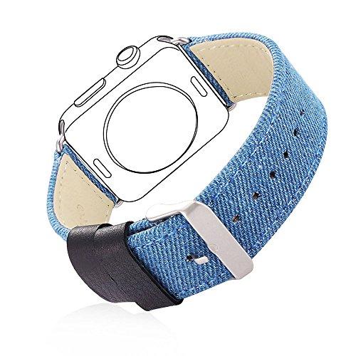 Correa para Watch Series 3 / 2 / 1 Bandmax 42mm Correa de Nailon Trenzado Denim Tela y Cuero Auténtico Reemplazo de Banda de Reloj con Cierre de Acero Inoxidable Ajustable para Apple Watch Todos los Modelos 42mm (Azul)
