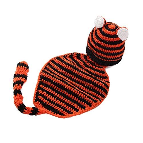NUOBESTY set di abiti da costume per fotografia di maglia con tigre in maglia di natale neonato