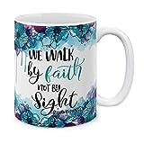 N\A Christian 2 Corintios 5: 7 de cerámica Taza de café Taza de té, 11 OZ
