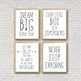 8 x 12 Inch Frame Wood Sign, Dream Big Little One Let Him Sleep For When He Wakes Superhero Prints Never Stop Exploring Baby Boy Nursery Decor Boys Room Wall Artset of 4 Wood Pallet Design Sign Plaque with Frame wooden sign