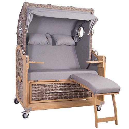 Strandkorb Kampen Spezial 2,5-Sitzer White Oak grau komplett inkl Gasdruckfedern Zeitungstaschen/Handytaschen Rollen Bullaugen