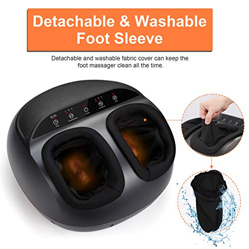 RENPHO Foot Massager Machine with Heat, Shiatsu Deep Kneading Therapy, Compression, Relieve Foot Pain from Plantar Fasciitis, Improve Blood Circulation, Fits feet up to Men Size 12