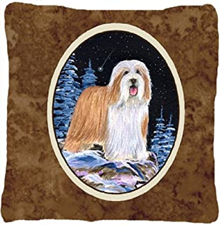 Caroline's Treasures SS8451PW1414 Starry Night Bearded Collie Fabric Pillow, Large, Multicolor