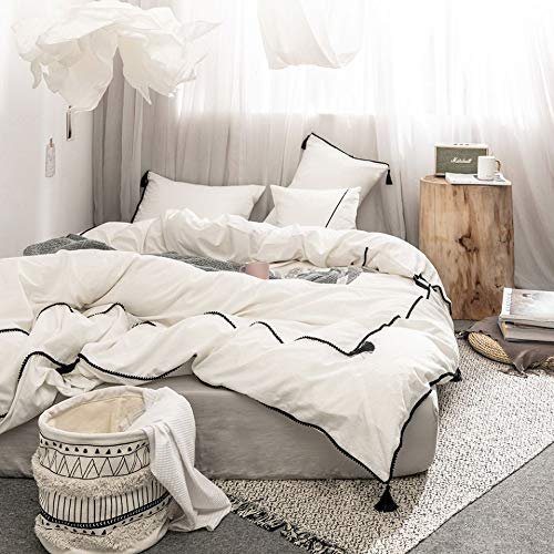 Meaning4 Ivory Boho Duvet Cover Set with Poms Fringe and Tassel Trim King Size Pure Cotton Solid 3 Pieces