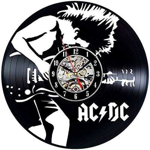 Reloj de Vinilo Hombre Tocando la Guitarra Reloj de Pared con Registro de Vinilo 3D Diseño Moderno Oficina Bar Habitación Decoración del hogar Arte Creativo Reloj de Pared Regalo