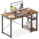 ODK Computer Desk with Shelves, 39' Home Office Desk with Storage, 2 Tiers Shelves Small Study Writing Table, Modern Simple Style PC Desk, Stable Workstation, Easy to Assemble, Vintage