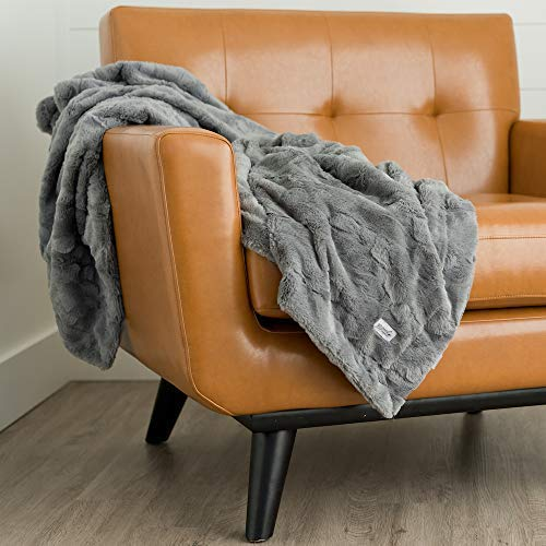 GRACED SOFT LUXURIES Faux Fur Throw Blanket Large Warm Cozy Super Soft Throw 50