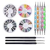 Biutee Pro Nail Art Set Kit 4 ruedas Multicolor uñas brillantes decoración de madera Nail Art pinceles punzones de doble punta Kit herramientas