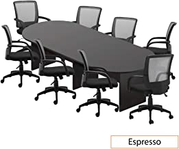 GOF 6FT, 8FT, 10FT Conference Table Chair (G10900B) Set, Cherry, Espresso, Mahogany, Walnut, Artisan Grey (10FT with 8 Chairs, Espresso)