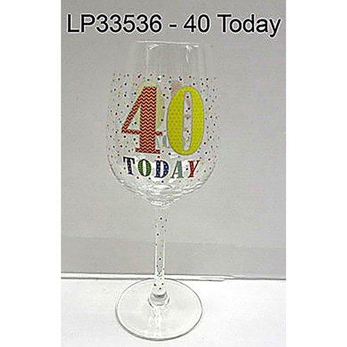 40 aujourd'hui 40e anniversaire Verre à vin avec Fun coloré illustrations dans une boîte de présentation