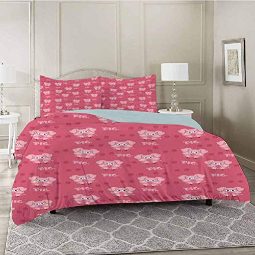 YUAZHOQI Bedding Duvet Cover 3 Piece Set, Square Cartoon Pig Hog Cheering Greeting Running Towards Humor Artwork, Comforter Cover with Zipper Closure and 2 Pillow Sham, King Size