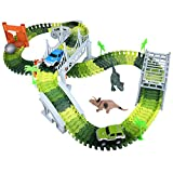 HOMETALL Dinosaur Toys for Boy 144Pcs Flexible Dinosaur Tracks Set, Train Racing Car Toys for Kids, Birthday Gifts for Age 3 4 5 6 Years Old Toddler