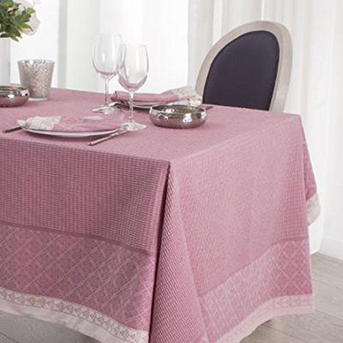 PEGANE Nappe rectangulaire Jacquard Coloris Rose, 140 x L 240 cm