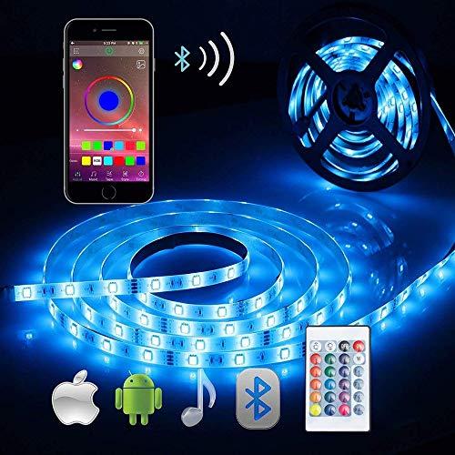 Striscia Luminosa LED con Controllo Bluetooth, 5M SMD 5050 Strisce LED Luce Impermeabile Flessibile Con Alimentatore 150LED l'Illuminazione Decorativa in Sotto Mobile Balcone Terrazza Festa