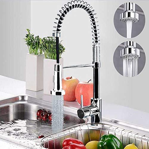 Warmiehomy Modern Chrome Monobloc Kitchen Sink Mixer Tap, Swivel & Spring Spout Pull Out Bar Tap (Style 1)
