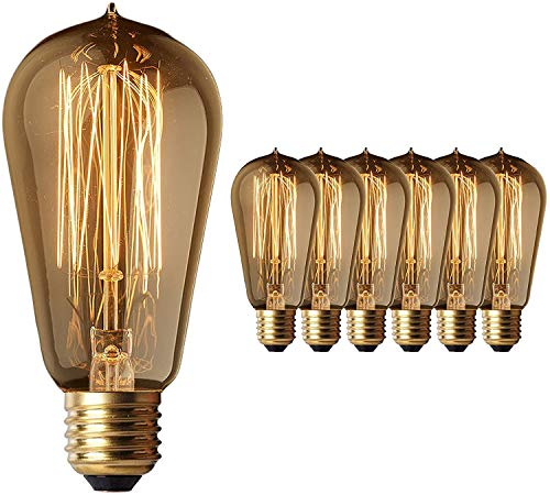6-Pack Edison Light Bulb 40W - Vintage Squirrel Cage Filament Amber Glass Incandescent Lamps - Antique Vintage Old Fashion ST64 2200K Warm White E26 Dimmable