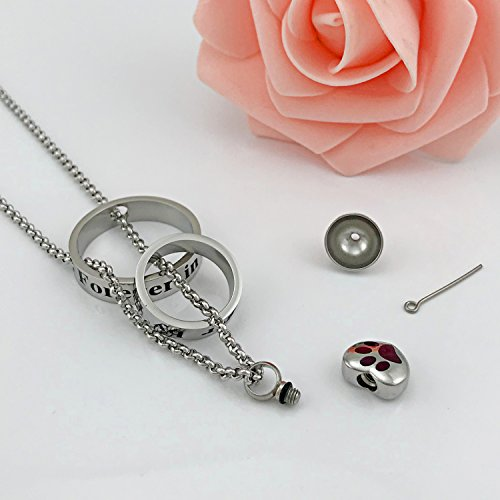 YOUFENG Urn Necklaces for Ashes No Longer by My Side Forever in My Heart Mom Dad Cremation Urn Locket Jewelry (Dog pet urn Necklace)