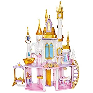 Disney Princess Ultimate Celebration Castle, 4 Feet Tall Doll House with Furniture and Accessories, Musical Fireworks Light Show, Toy for Girls 3 and Up