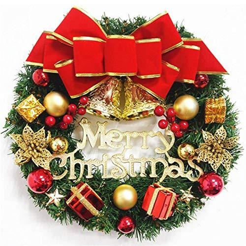 XCYY Garland Arrangement Christmas Ornament Christmas Wreath Decorative Wreath 30CM Bow Christmas Decoration Decoracion Hogar Christmas Wreath (Color : A)