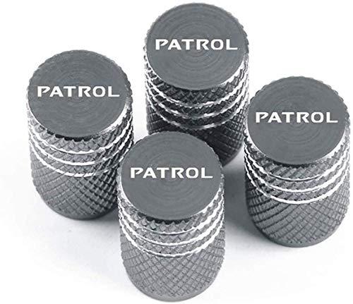 4 Pcs VáLvula De NeumáTico Coches para Nissan Patrol, Con Logotipo Del Coche Aluminio Tapas Para VáLvulas De Aire Guardapolvo VáLvula Antirrobo Para NeumáTicos Tapas Accesorios De Decoracion