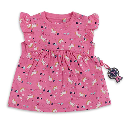 Sigikid Baby-Mädchen Kleid aus Bio-Baumwolle für Kinder Atuendo de Jugador, Rosa/Caballos, 80 cm para Bebés