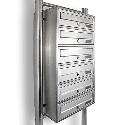 Edelstahl Stand-Briefkastenanlage Postkasten Letterbox Mailbox mit 6 Fächer