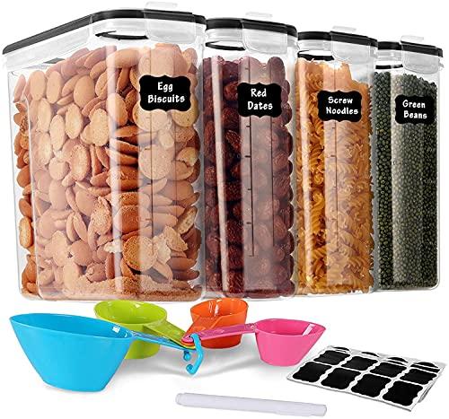 GoMaihe 4L Contenitori Alimentari per Cereali, Contenitori Ermetici Alimentari Plastica con Coperchio per Alimenti Set 4 Pezzi, Utilizzato per la Conservazione di Pasta, Cereali, Muesli, Farina