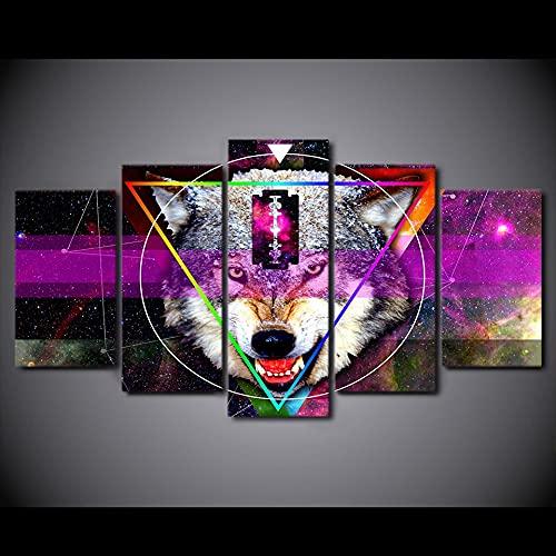 Abstracto Estrellas Lobo Pintura Cuadros Modulares de Pared para Sala de estar Hd Impreso 5 Piezas Lienzo Arte (Tamaño 1)