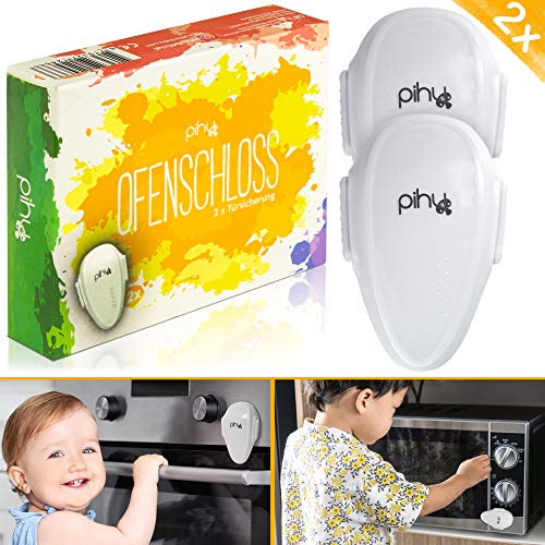 PIHU Ofenschloss zum Kleben (Herdschutz) Kindersicherung für Backofen und Mikrowelle