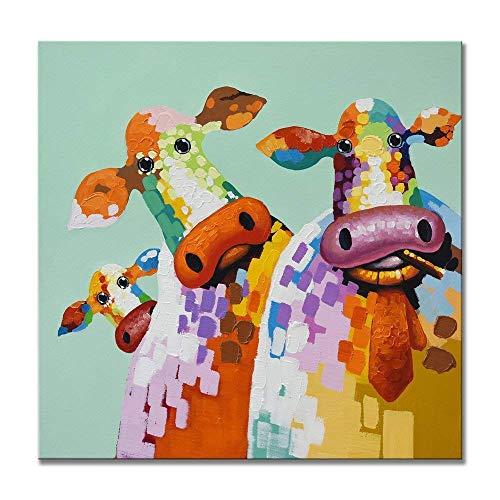 GWFVA Decoratieve woonkamer moderne schilderij achtergrond abstracte muur dier koe schilderij kamer met de hand geschilderd