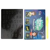 【𝐇𝐚𝐩𝐩𝒚 𝐍𝐞𝒘 𝐘𝐞𝐚𝐫 𝐆𝐢𝐟𝐭】輝く便利な塗装板、おもしろい発光塗装板4種類3Dで遊ぶ子供たち(Blue English Version A)