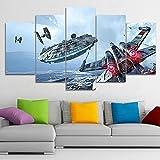 UYEDSR Pintura 5 Impresiones Impresiones en Lienzo Halcón Milenario de la película de Star Wars Decoracion de Pared artísticos para Interiores