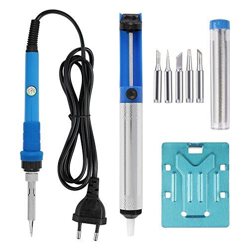 LeaningTech - Saldatore con stazione di saldatura e 5 suggerimenti, colore: Blu