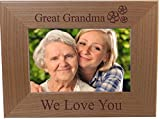 Great Grandma We Love You - Engraved Wood Picture Frame - Fits 4x6-inch Photo