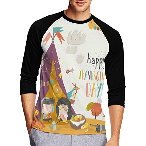 Cute Kids Celebrating Thanksgiving Day with Animals in a Teepee Tent - - - OVA,Unisex Funny Humor T-Shirt Cot