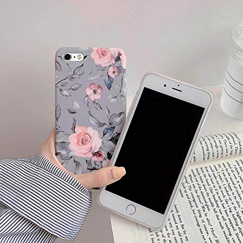 iPhone 6 Plus / 6s Plus Case for Women & Girls, YeLoveHaw Flexible Soft Slim Fit Full-around Protective Cute Phone Case Cover with Floral and Purple Gray Leaves for iPhone 6Plus / 6sPlus(Pink Flowers)