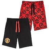 Manchester United F.C. - Shorts de fútbol para niños, negro / rojo 5-6 años