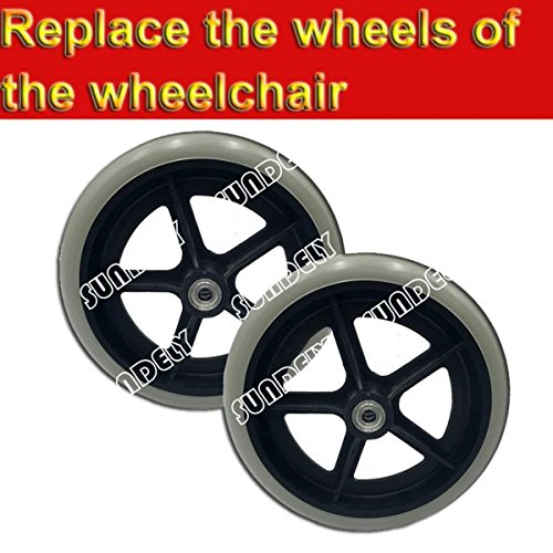 SUNDELY Rubber Replacement Wheelchair Scooter Cart Wheel Castor Roller 20cm (8 inch) Grey Non Marking Solid Tyre (2 pieces set)
