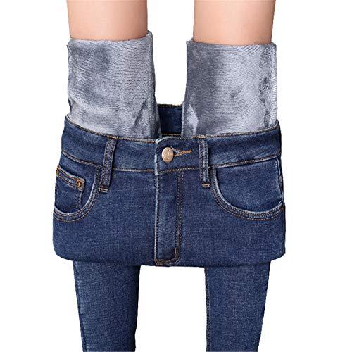 Damen Winter-Jeggings, mit Fleece gefüttert, dehnbar, hohe Taille, schmal, Stretch, warme Jeans, Yoga, Denim-Hose, dunkelblau, Größe L