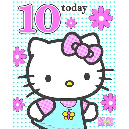 Hello Kitty Geburtstagskarte–Alter 10