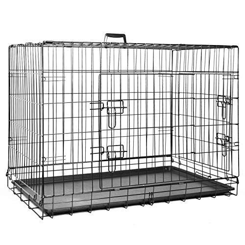 proudpet PET CRATE Folding Double Door Metal Puppy Dog Cage (Large - 36 Inch)